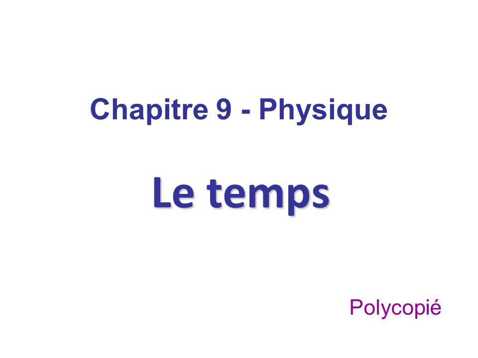 Chapitre 9 - Physique Le temps Polycopié