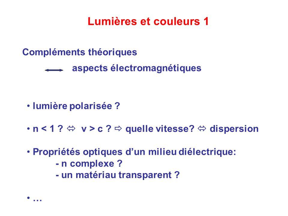 Lumières et couleurs 1 Compléments théoriques