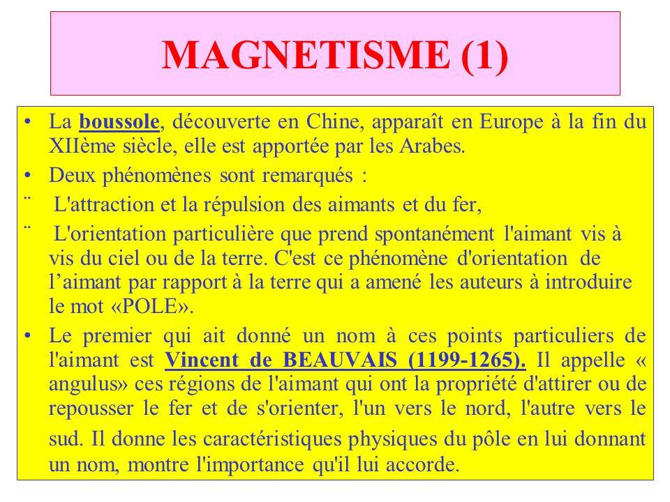 MAGNETISME (1) La boussole, découverte en Chine, apparaît en Europe à la fin du XIIème siècle, elle est apportée par les Arabes.