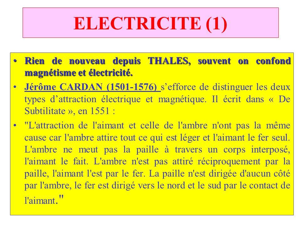 ELECTRICITE (1) Rien de nouveau depuis THALES, souvent on confond magnétisme et électricité.