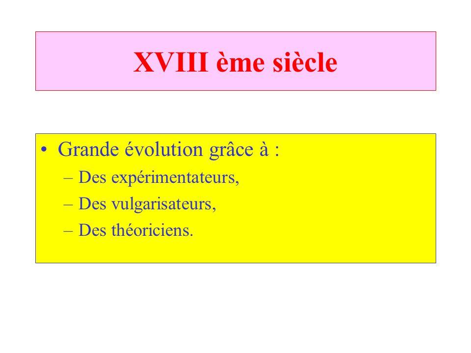 XVIII ème siècle Grande évolution grâce à : Des expérimentateurs,