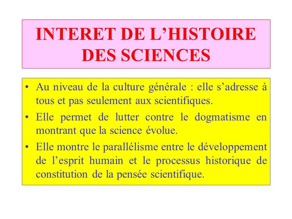 INTERET DE L'HISTOIRE DES SCIENCES