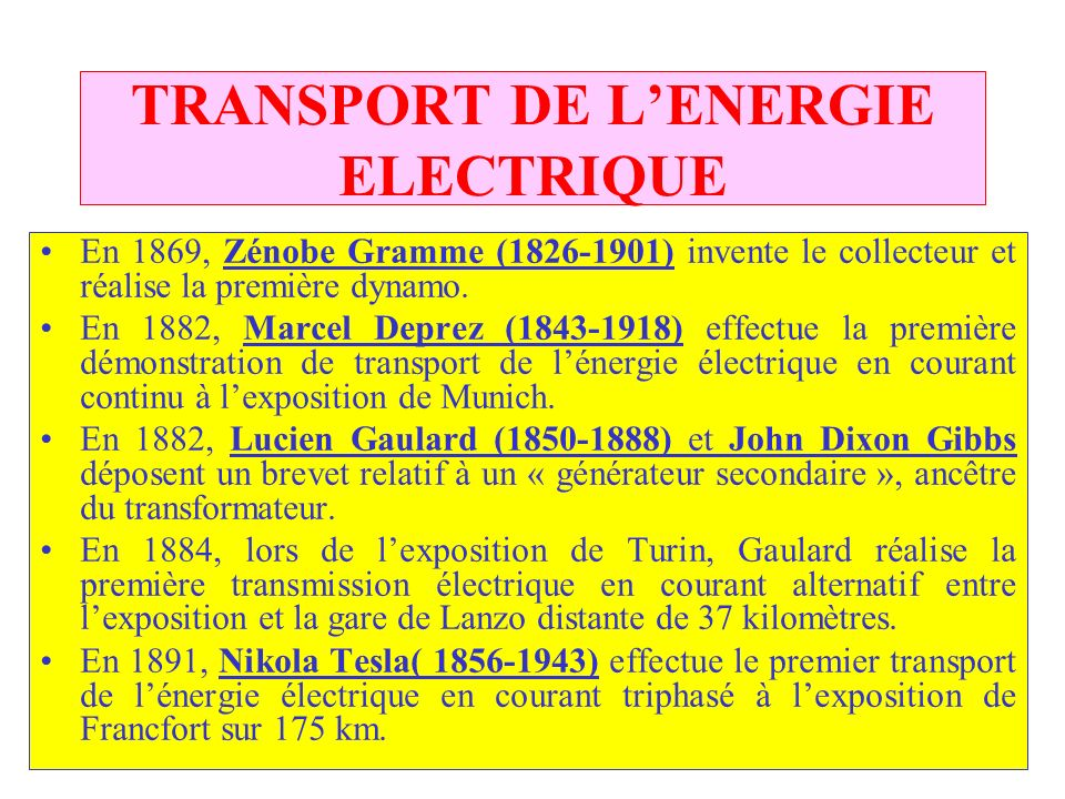 TRANSPORT DE L'ENERGIE ELECTRIQUE