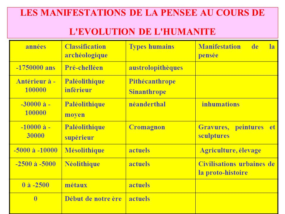 LES MANIFESTATIONS DE LA PENSEE AU COURS DE L EVOLUTION DE L HUMANITE