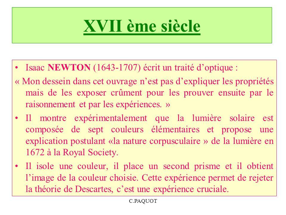 XVII ème siècle Isaac NEWTON (1643-1707) écrit un traité d'optique :
