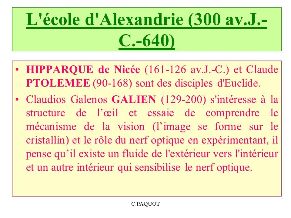 L école d Alexandrie (300 av.J.-C.-640)