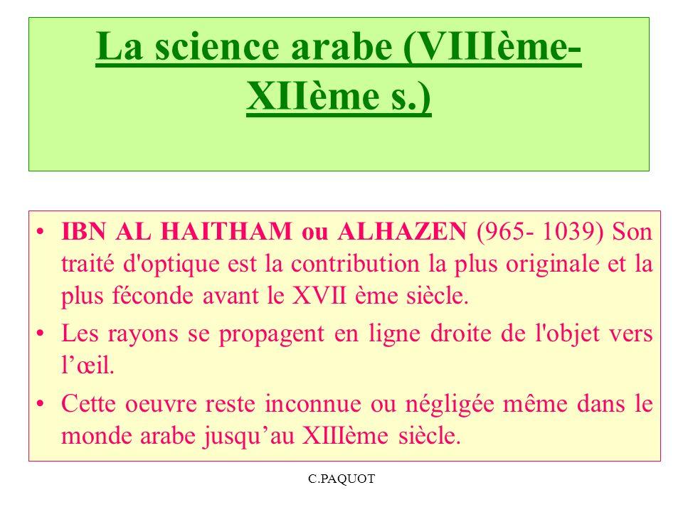 La science arabe (VIIIème-XIIème s.)
