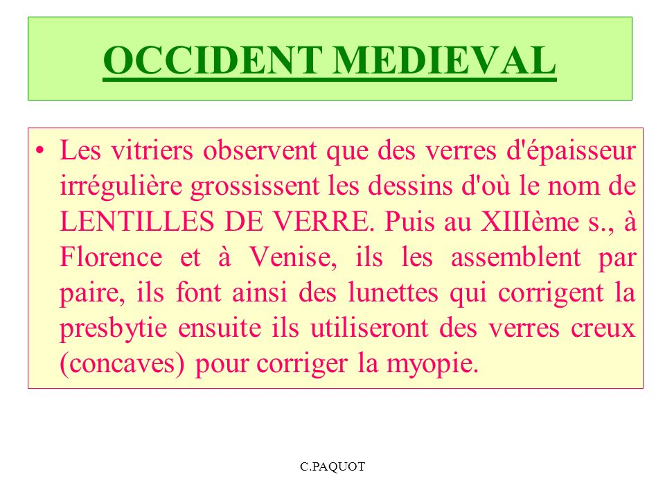 OCCIDENT MEDIEVAL