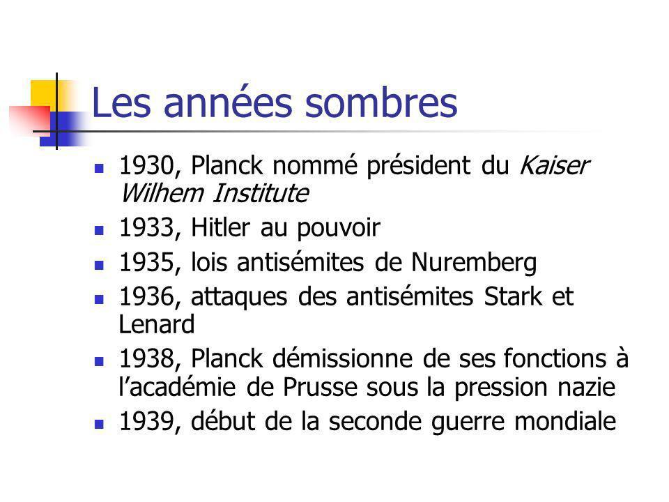 Les années sombres 1930, Planck nommé président du Kaiser Wilhem Institute. 1933, Hitler au pouvoir.
