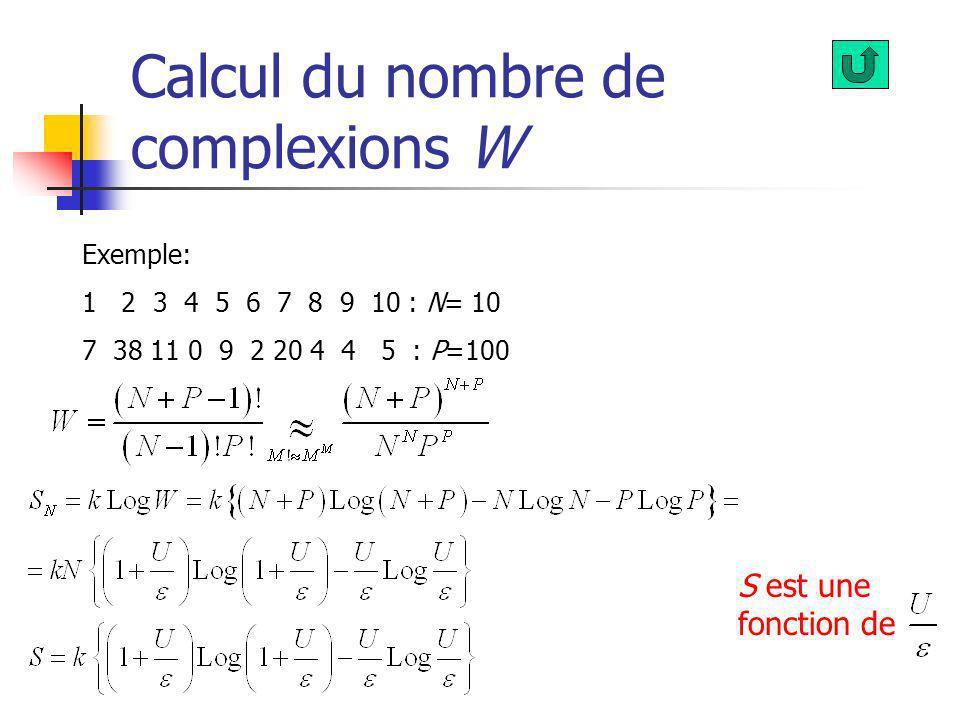 Calcul du nombre de complexions W