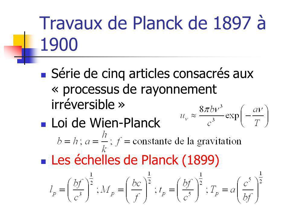 Travaux de Planck de 1897 à 1900 Série de cinq articles consacrés aux « processus de rayonnement irréversible »