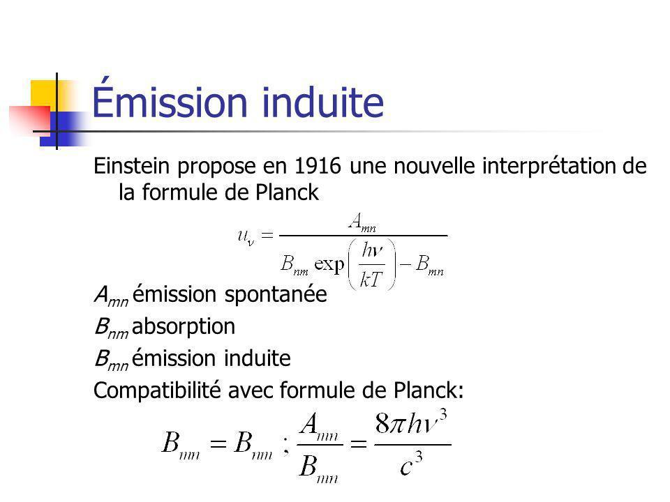 Émission induite Einstein propose en 1916 une nouvelle interprétation de la formule de Planck. Amn émission spontanée.