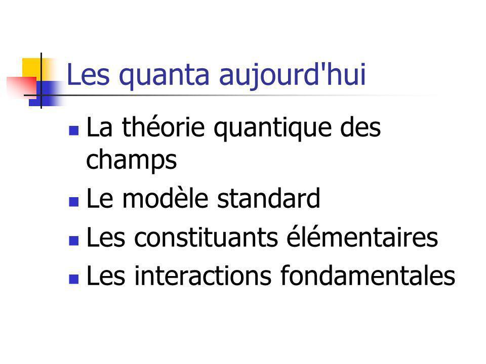 Les quanta aujourd hui La théorie quantique des champs