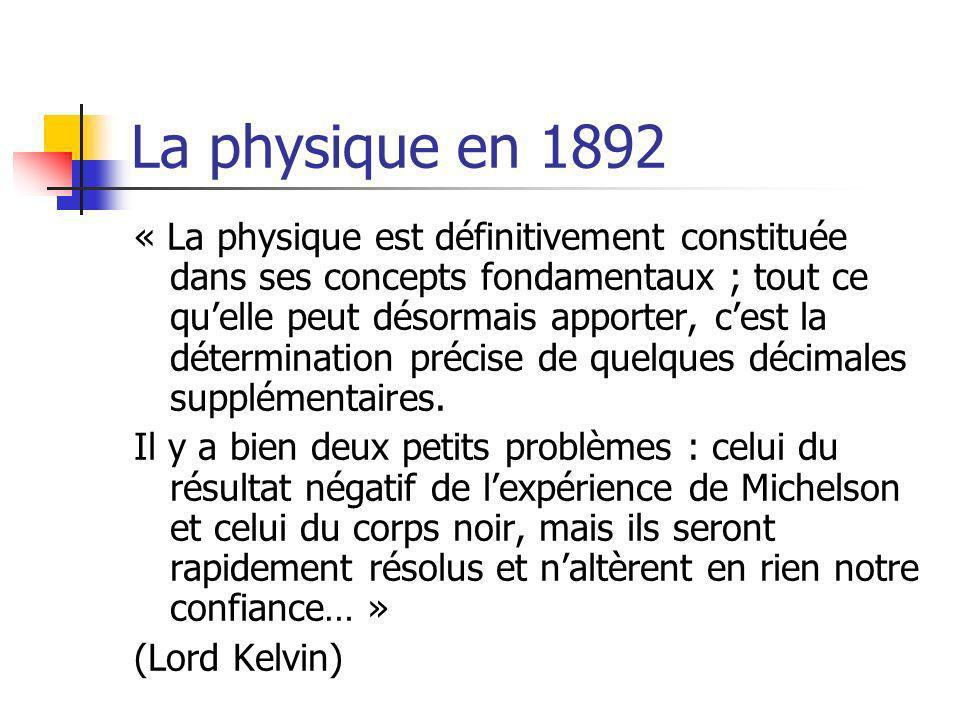 La physique en 1892