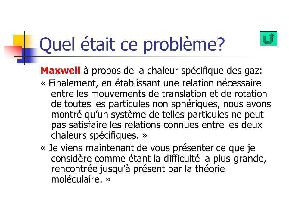 Quel était ce problème Maxwell à propos de la chaleur spécifique des gaz: