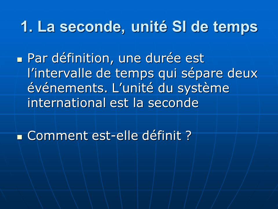 1. La seconde, unité SI de temps