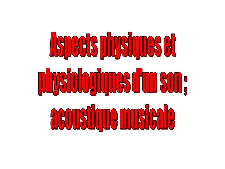 physiologiques d un son ;