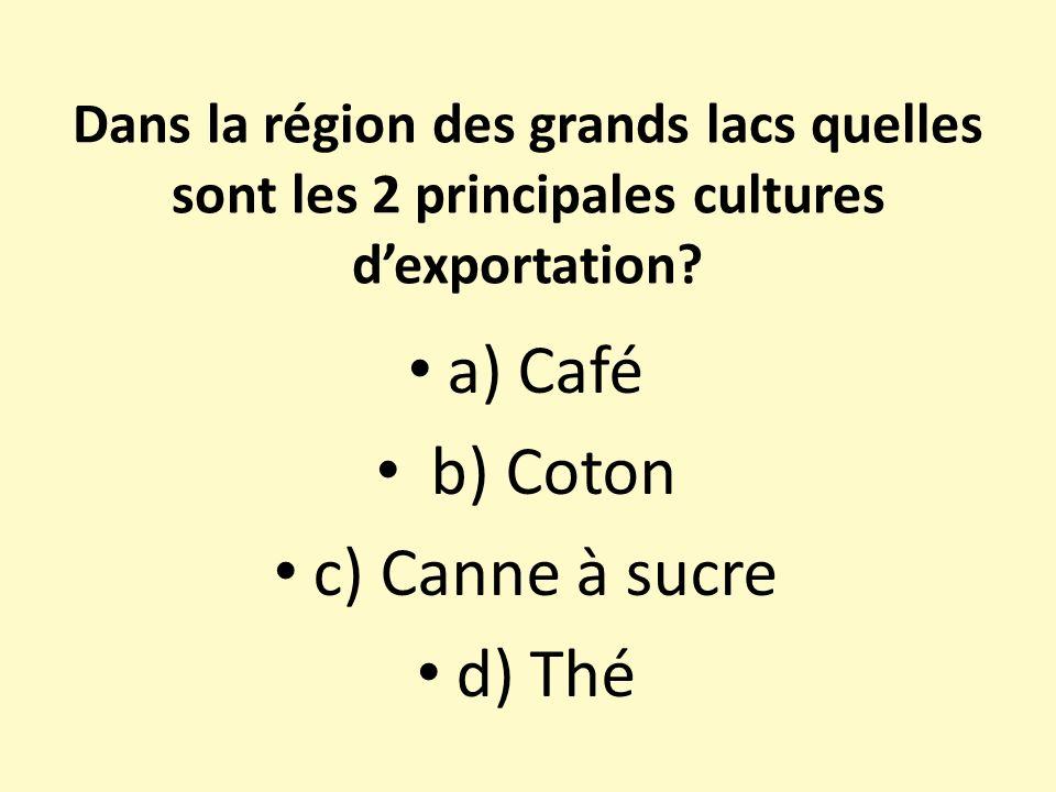 a) Café b) Coton c) Canne à sucre d) Thé