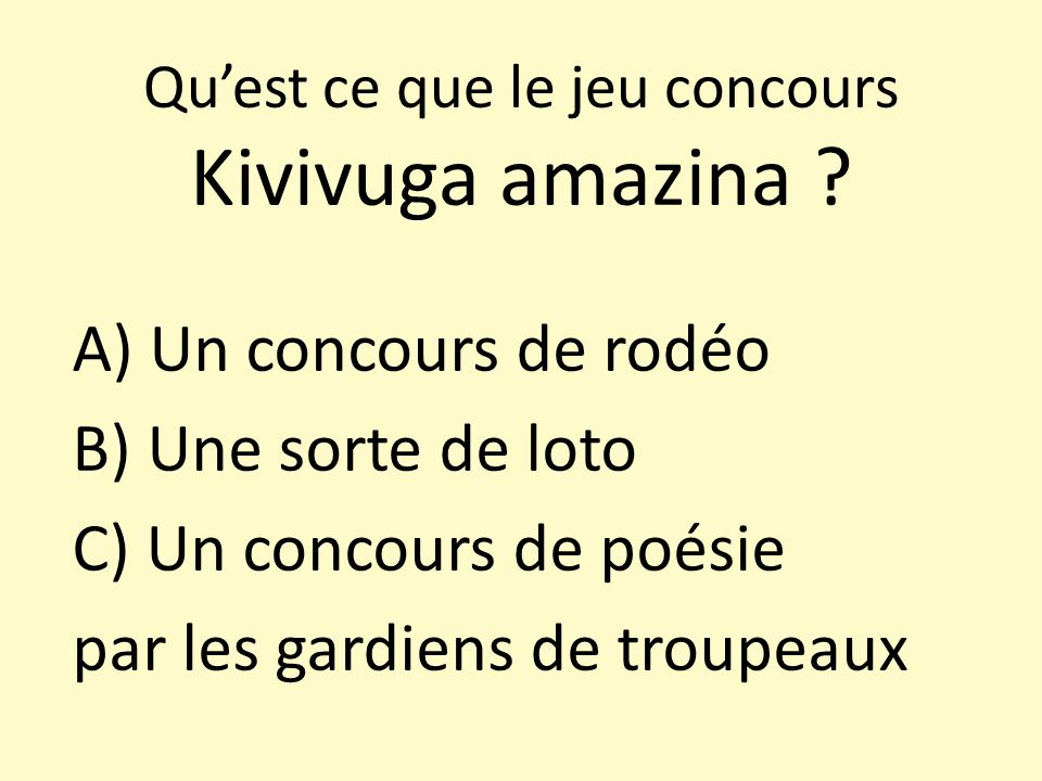 Qu'est ce que le jeu concours Kivivuga amazina