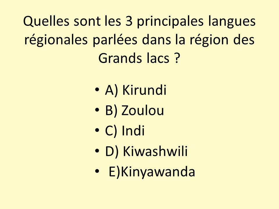 Quelles sont les 3 principales langues régionales parlées dans la région des Grands lacs