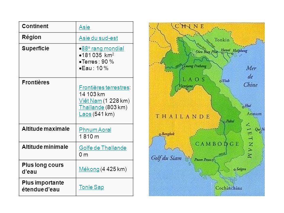 Continent Asie. Région. Asie du sud-est. Superficie. 88e rang mondial. 181 035 km2. Terres : 90 %