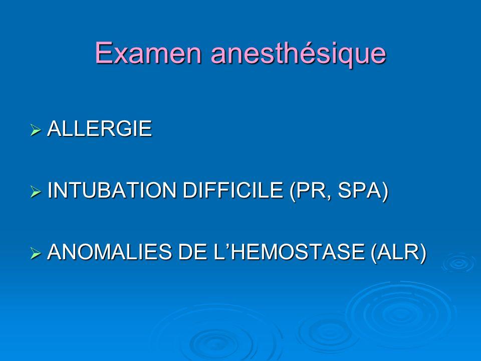 Examen anesthésique ALLERGIE INTUBATION DIFFICILE (PR, SPA)