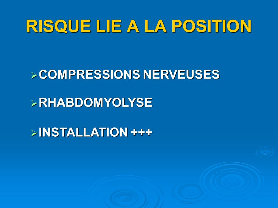 RISQUE LIE A LA POSITION