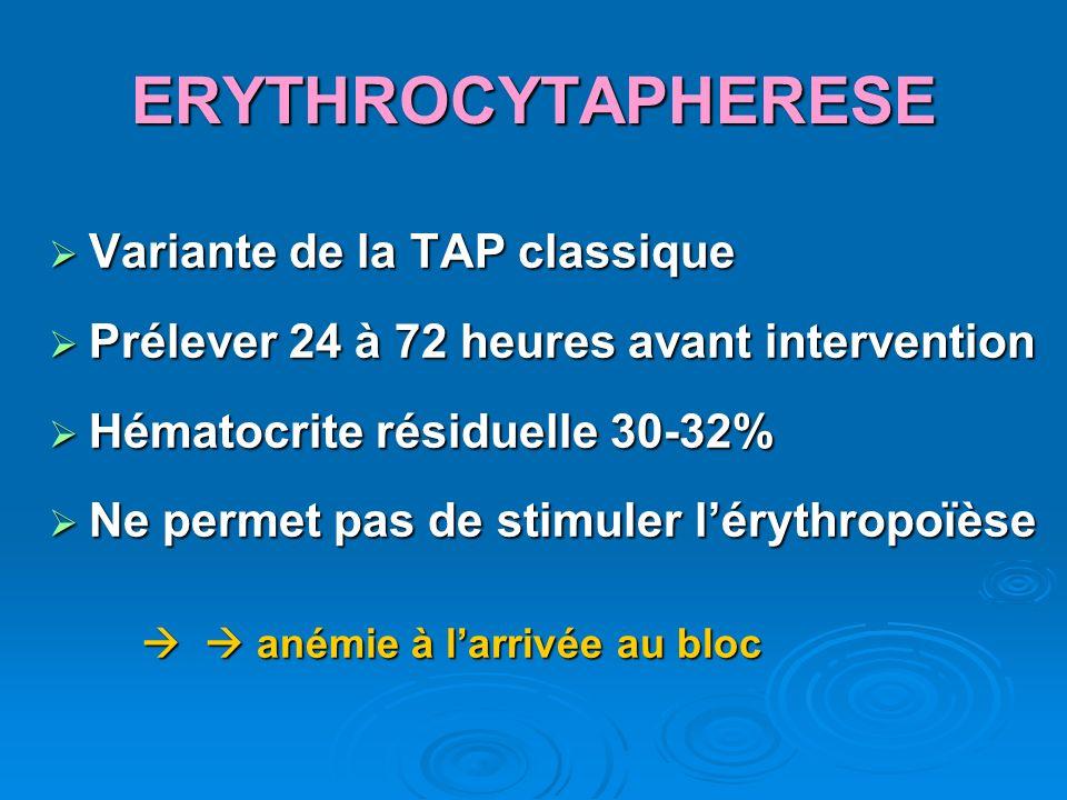 ERYTHROCYTAPHERESE Variante de la TAP classique