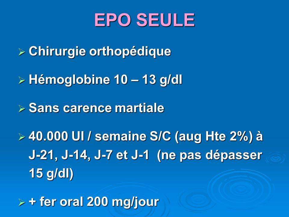 EPO SEULE Chirurgie orthopédique Hémoglobine 10 – 13 g/dl