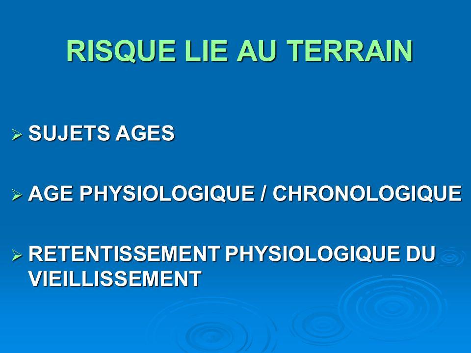RISQUE LIE AU TERRAIN SUJETS AGES AGE PHYSIOLOGIQUE / CHRONOLOGIQUE