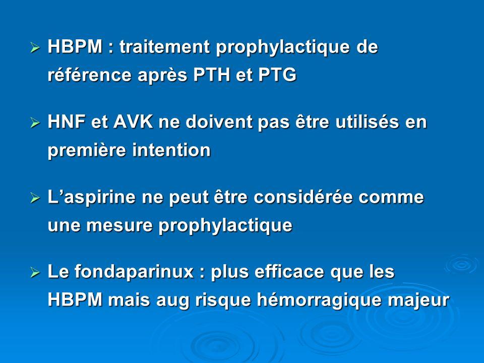 HBPM : traitement prophylactique de référence après PTH et PTG