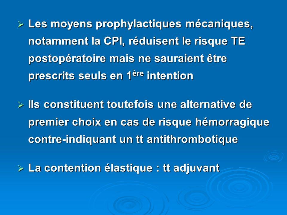 Les moyens prophylactiques mécaniques, notamment la CPI, réduisent le risque TE postopératoire mais ne sauraient être prescrits seuls en 1ère intention