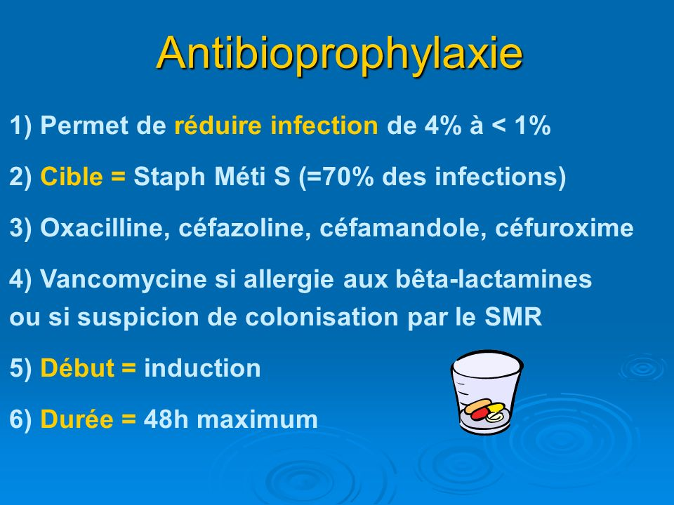 Antibioprophylaxie 1) Permet de réduire infection de 4% à < 1%