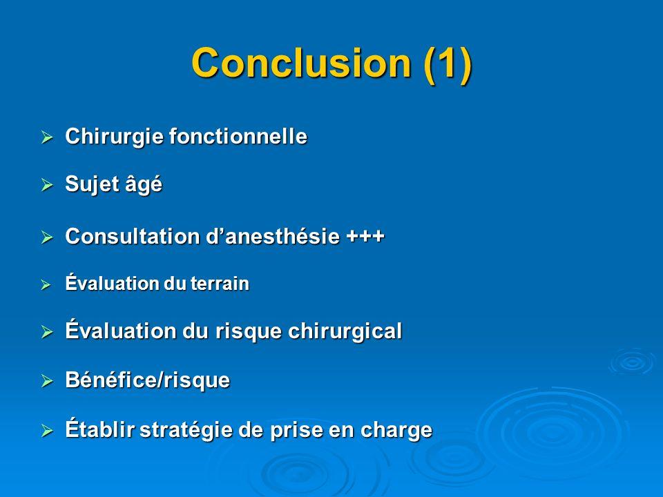 Conclusion (1) Chirurgie fonctionnelle Sujet âgé