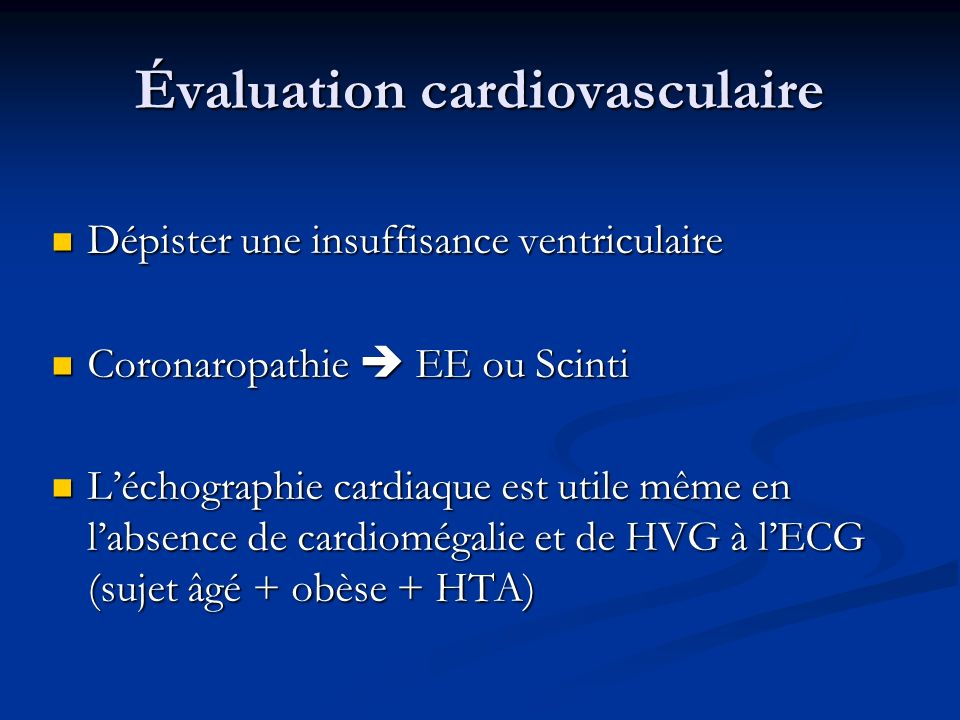 Évaluation cardiovasculaire