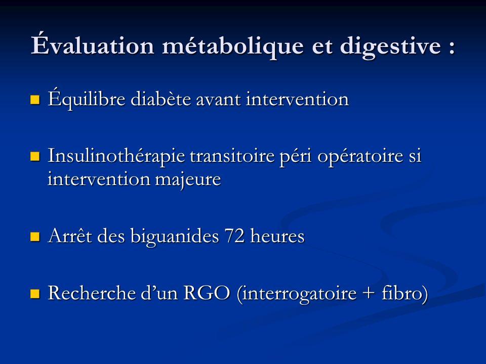Évaluation métabolique et digestive :