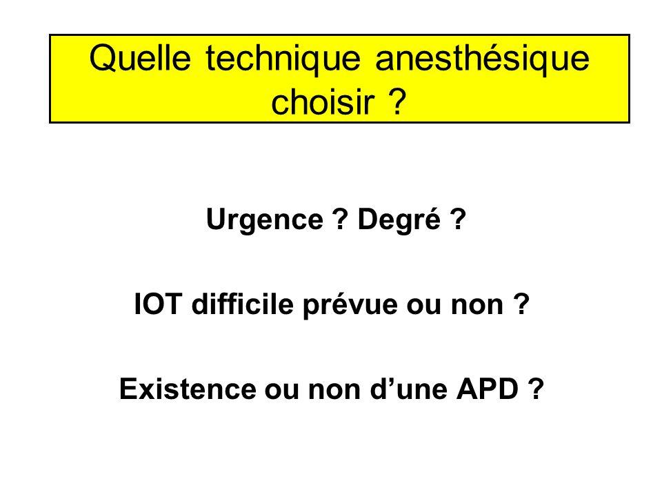 Quelle technique anesthésique choisir