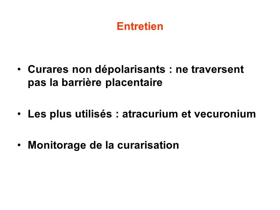 Entretien Curares non dépolarisants : ne traversent pas la barrière placentaire. Les plus utilisés : atracurium et vecuronium.