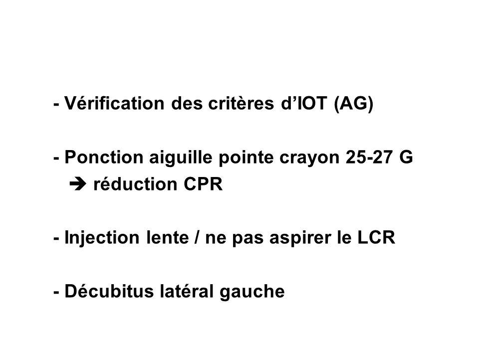 - Vérification des critères d'IOT (AG)