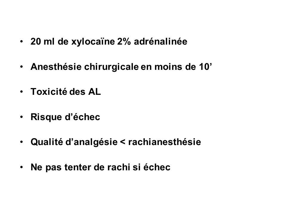 20 ml de xylocaïne 2% adrénalinée