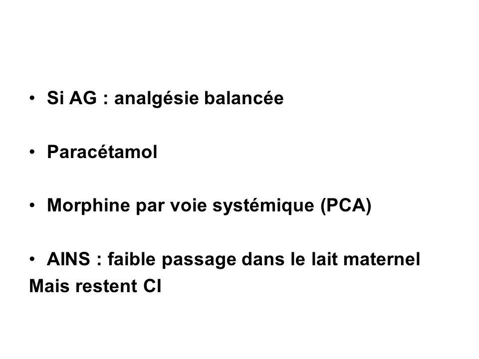 Si AG : analgésie balancée