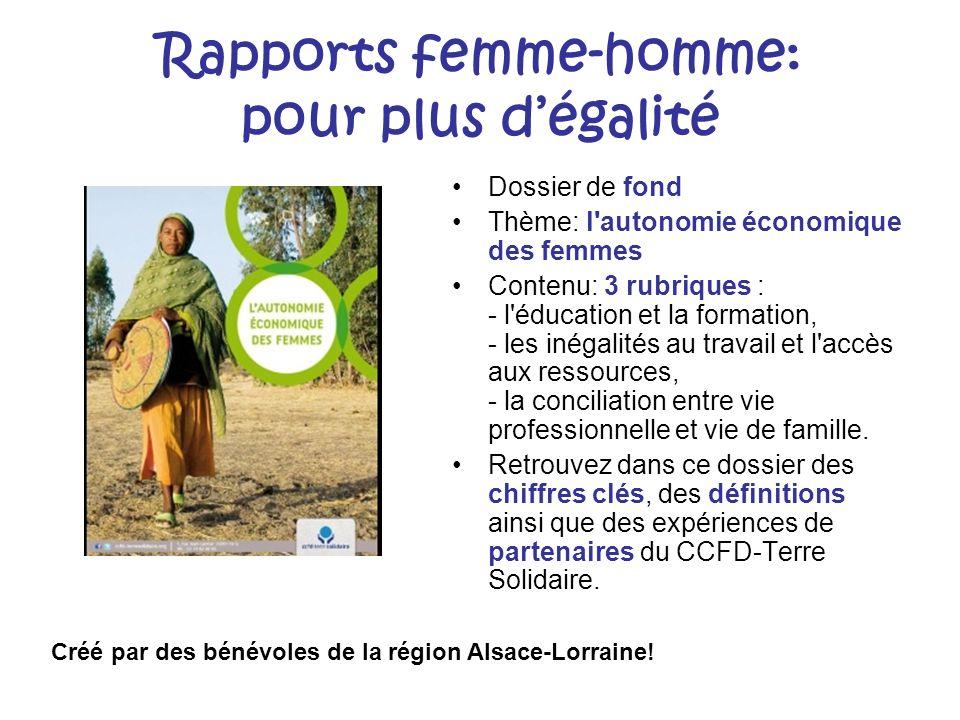 Rapports femme-homme: pour plus d'égalité