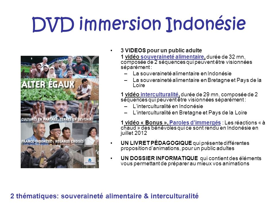 DVD immersion Indonésie