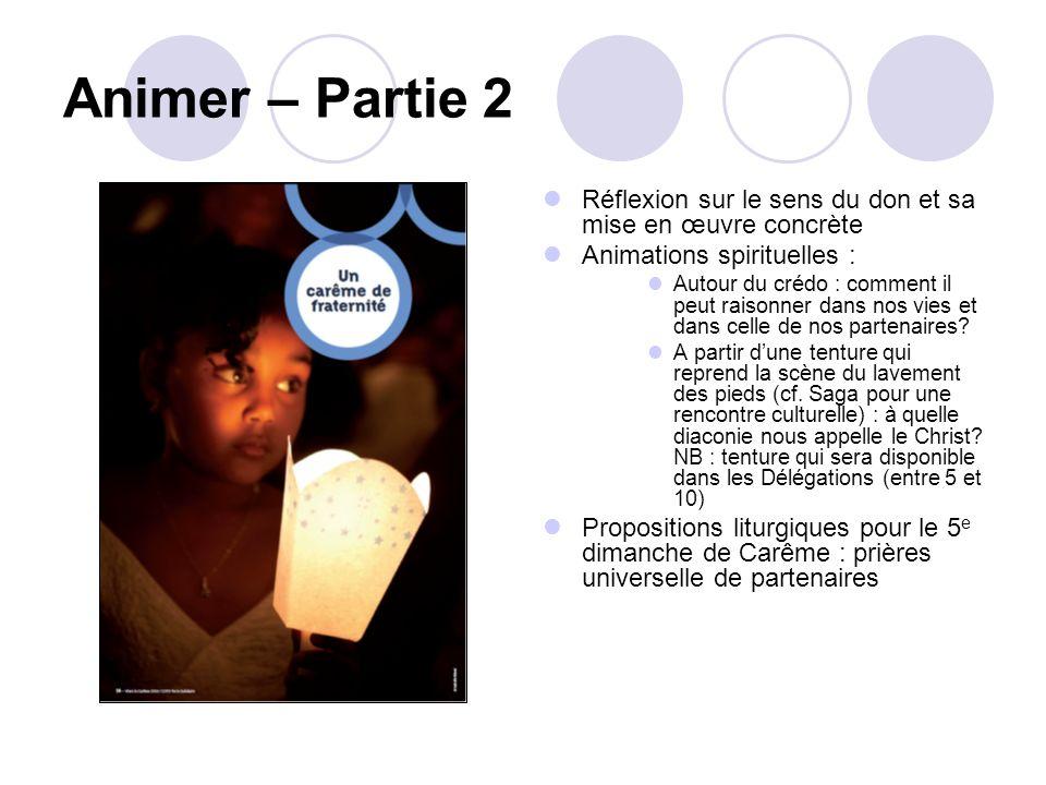 Animer – Partie 2 Réflexion sur le sens du don et sa mise en œuvre concrète. Animations spirituelles :
