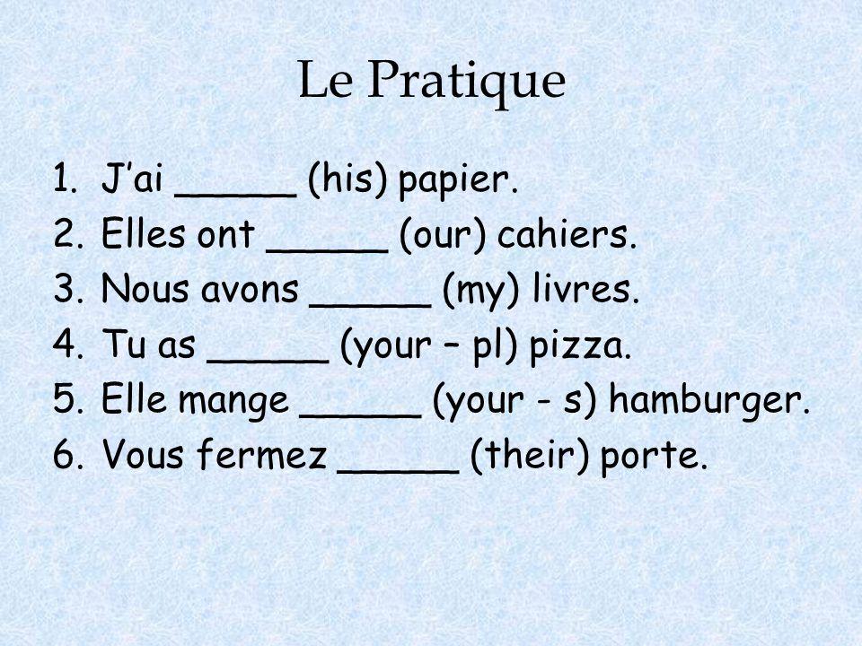 Le Pratique J'ai _____ (his) papier. Elles ont _____ (our) cahiers.