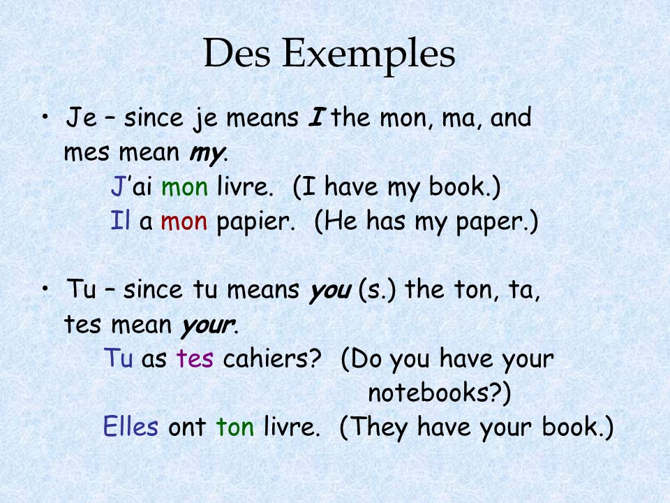 Des Exemples Je – since je means I the mon, ma, and mes mean my.