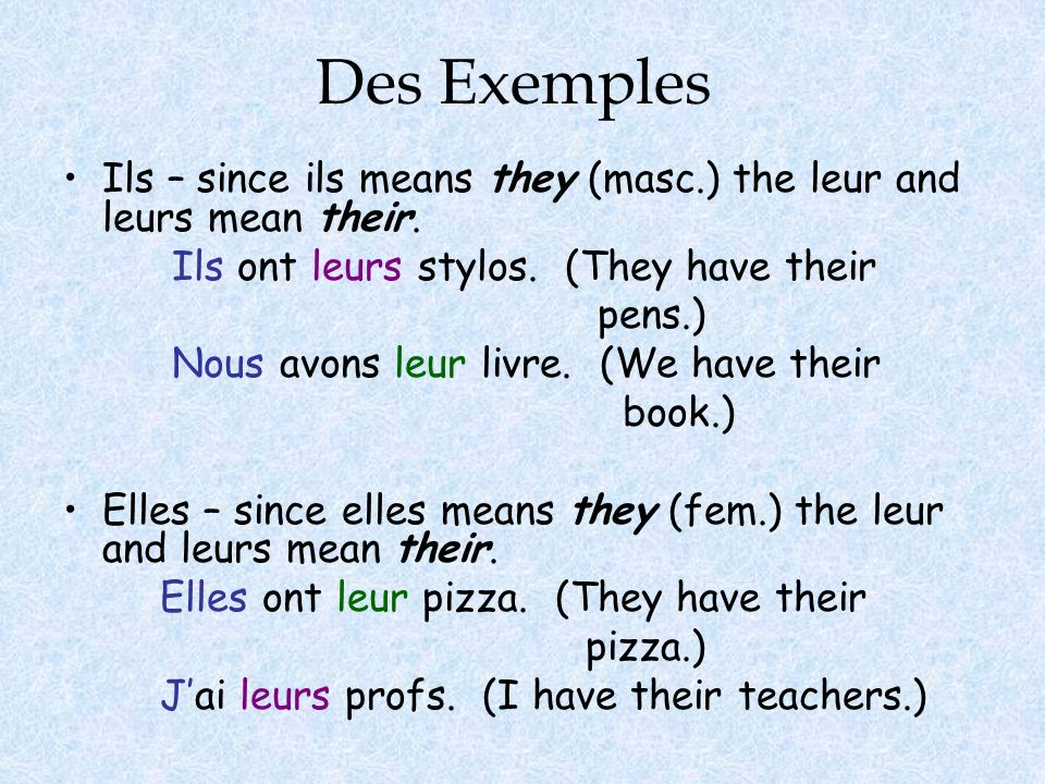 Des ExemplesIls – since ils means they (masc.) the leur and leurs mean their. Ils ont leurs stylos. (They have their.