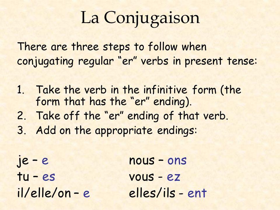 La Conjugaison je – e nous – ons tu – es vous - ez