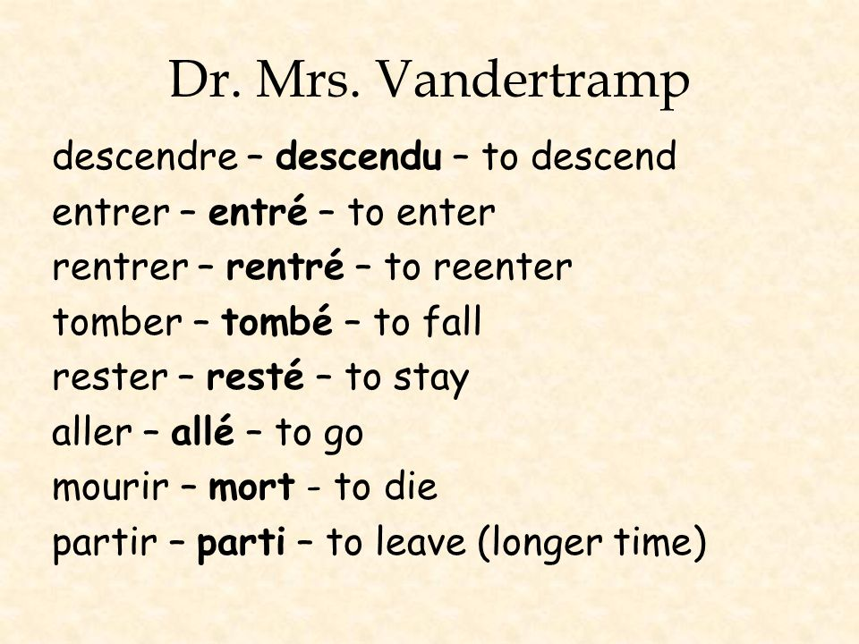 Dr. Mrs. Vandertramp descendre – descendu – to descend