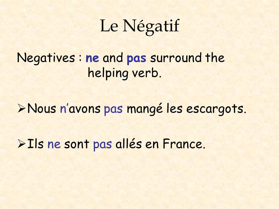 Le Négatif Negatives : ne and pas surround the helping verb.